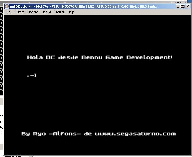 bennu bennu gd sega dreamcast port programacion hello world sample ejemplo iniciacion lenguaje