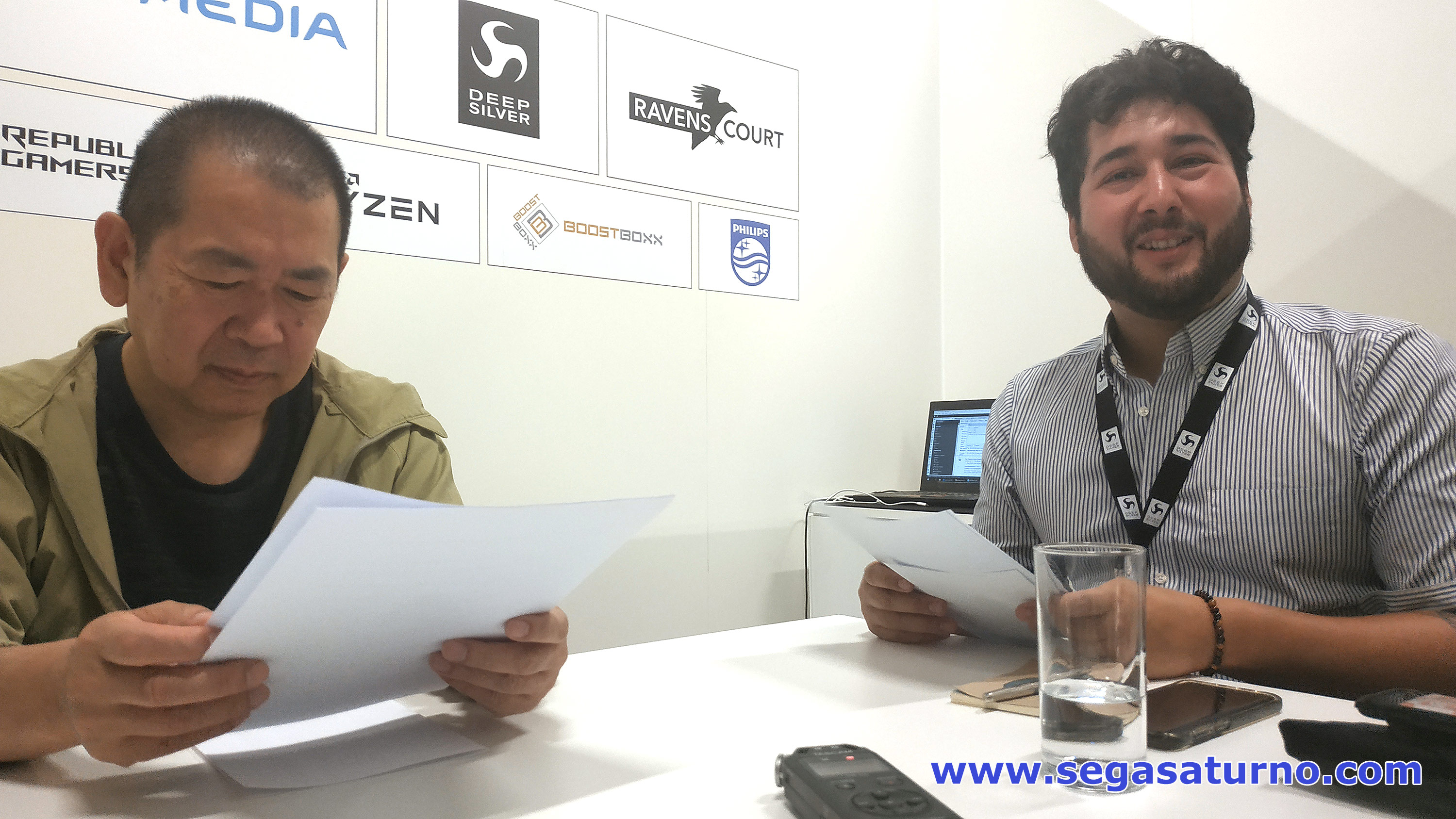 yu suzuki and kenji kojima deep silver booth 2019 entrevista interview
